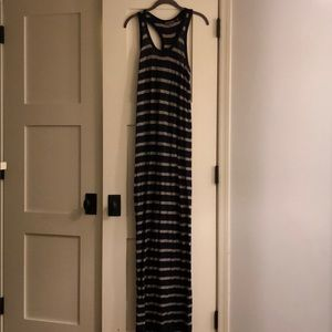 Vince navy and gray striped dress
